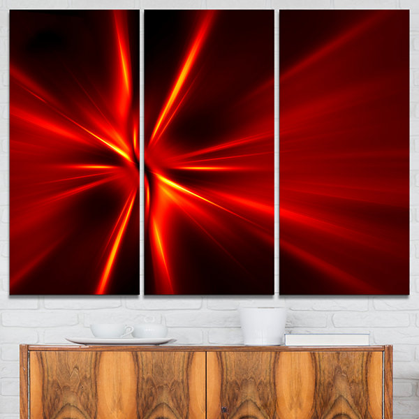 Designart Red And Yellow Rays Abstract Canvas ArtPrint - 3 Panels