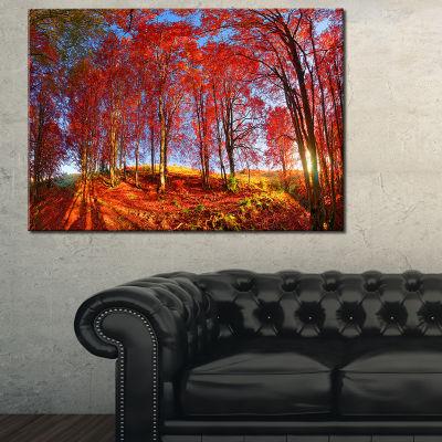 Designart Red Autumn Forest In Carpathians Landscape Photography Canvas Print
