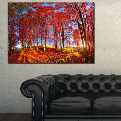 Designart Red Autumn Forest In Carpathians Landscape Photography Canvas Print - 3 Panels