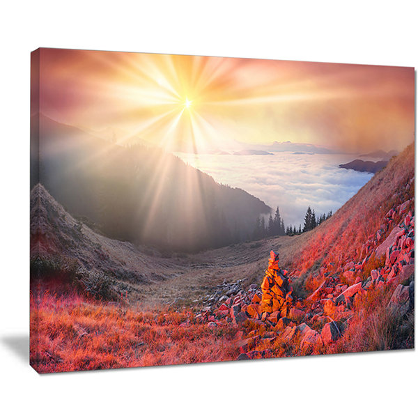 Designart Red Beach Forest In Carpathians Landscape Photography Canvas Print