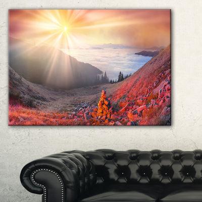 Design Art Red Beach Forest In Carpathians Landscape Photography Canvas Print