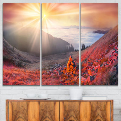 Designart Red Beach Forest In Carpathians Landscape Photography Canvas Print - 3 Panels