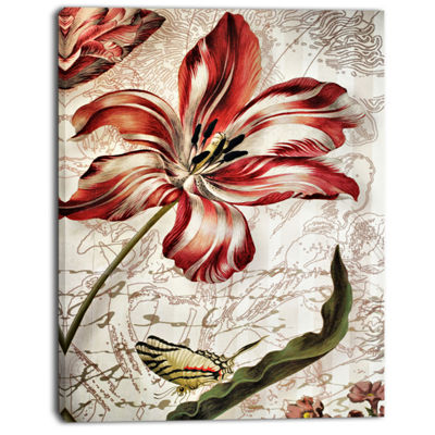 Designart Red Floral Pattern With Butterfly FloralArt Canvas Print