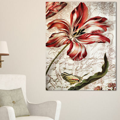 Designart Red Floral Pattern With Butterfly FloralArt Canvas Print - 3 Panels
