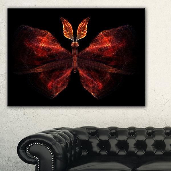 Designart Red Fractal Butterfly In Dark AbstractCanvas Art Print