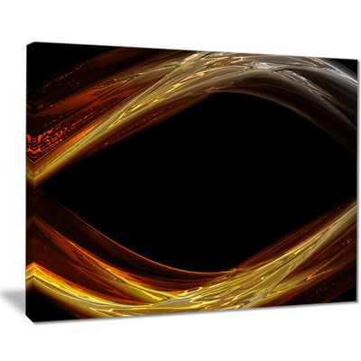 Designart Red Golden Shapes In Black Abstract Canvas Art Print