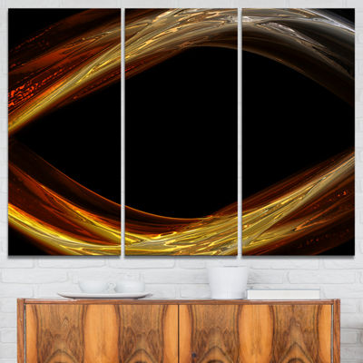 Designart Red Golden Shapes In Black Abstract Canvas Art Print - 3 Panels
