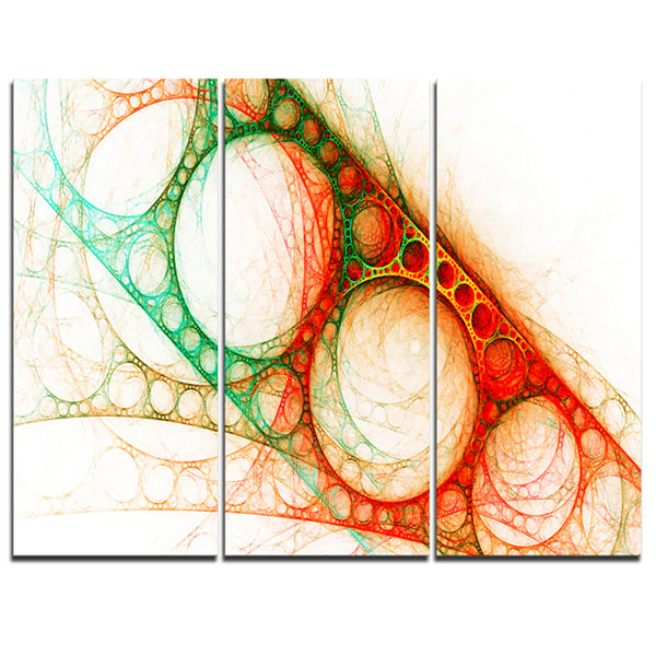 Designart Red Green Metal Constructions AbstractCanvas Art Print - 3 Panels