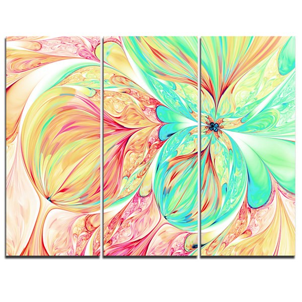 Designart Red Green Paper Flower Floral Art CanvasPrint - 3 Panels