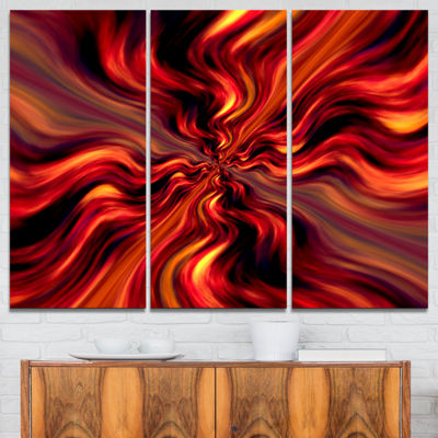 Designart Red Infinity Illustration Abstract Canvas Art Print - 3 Panels