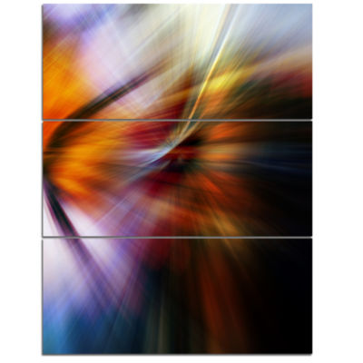 Designart Red Orange Fusion Of Hues Abstract Canvas Art Print - 3 Panels