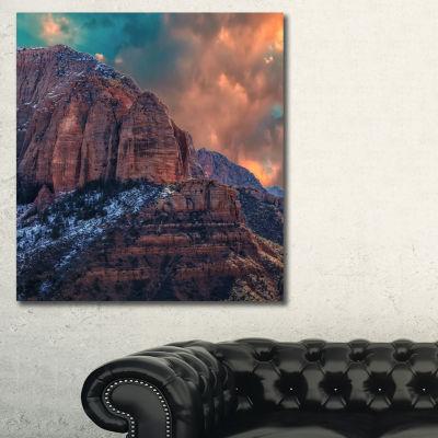 Designart Red Rock Under Colorful Sky Landscape Photo Canvas Art Print - 3 Panels