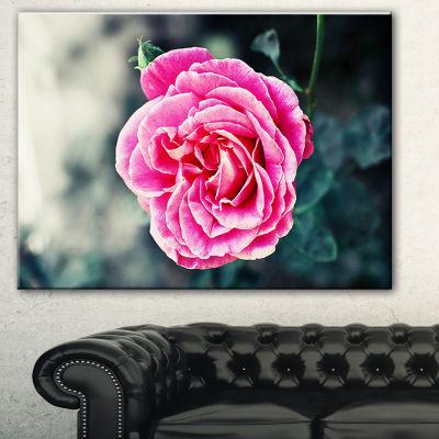 Designart Red Rose In Vintage Style Floral Art Canvas Print