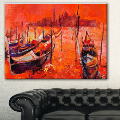 Designart Red Sunset Over Venice Landscape Painting Canvas Print - 3 Panels