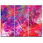 Designart Red Swirling Clouds Abstract Canvas ArtPrint - 3 Panels