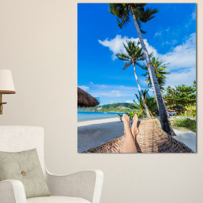 Designart Relaxing In Hammock Landscape Photography Canvas Art Print - 3 Panels