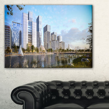 Designart Residential Complex Cityscape Photography Canvas Art Print