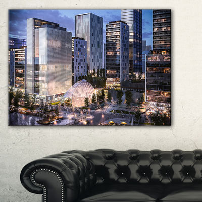 Designart Residential Complex Close Up CityscapePhoto Canvas Print - 3 Panels