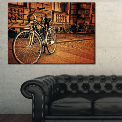 Designart Retro Bicycle Against Stone Wall Landscape Photography Canvas Print - 3 Panels