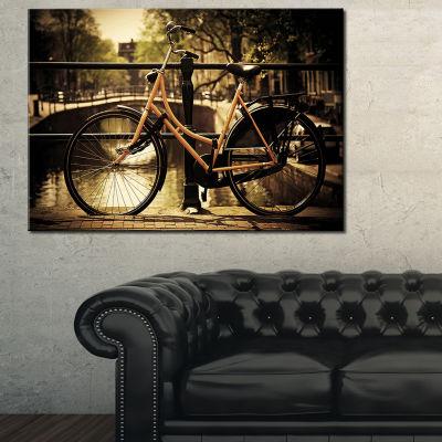 Designart Retro Bike Over Romantic Canal Bridge Photography Canvas Art Print - 3 Panels