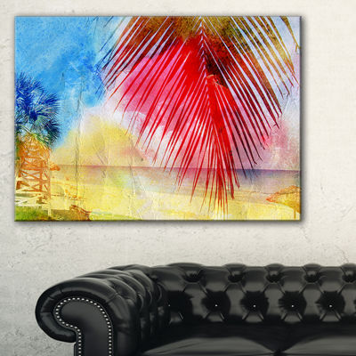 Designart Retro Palm Leaf Watercolor Trees Painting Canvas Art Print - 3 Panels