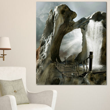 Designart Trunk With Waterfall Landscape Canvas Art Print