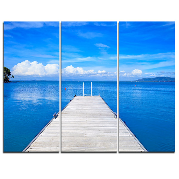Designart Wooden Pier Seascape Canvas Art Print -3Panels