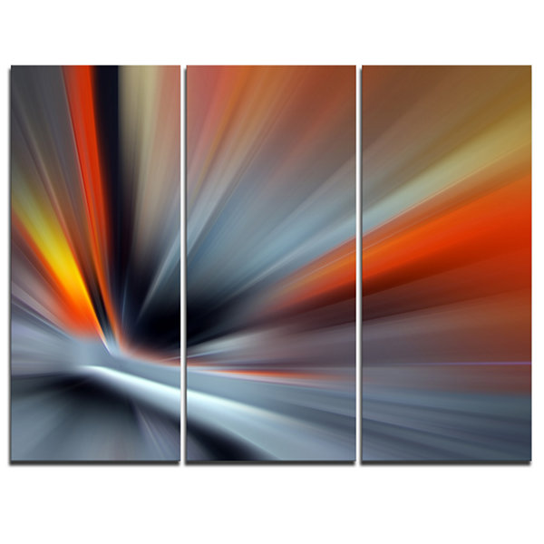 Designart Rays Of Speed Lines Abstract Canvas ArtPrint - 3 Panels