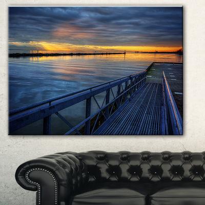 Designart Azure Waters Behind Pier Seascape CanvasArt Print - 3 Panels