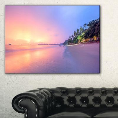 Design Art Beach With Colorful Sky Beach Photography Canvas Art Print - 3 Panels