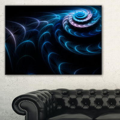 Designart Blue Fractal Flower In Dark Large FloralCanvas Art Print