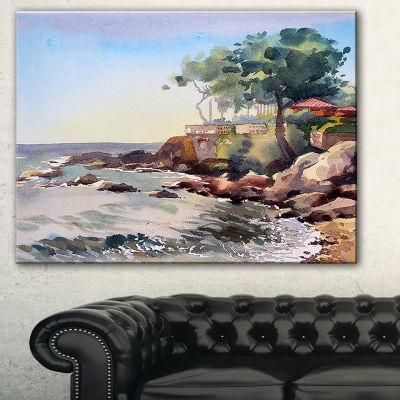 Designart Cote D Azur France Landscape Painting Canvas Art Print