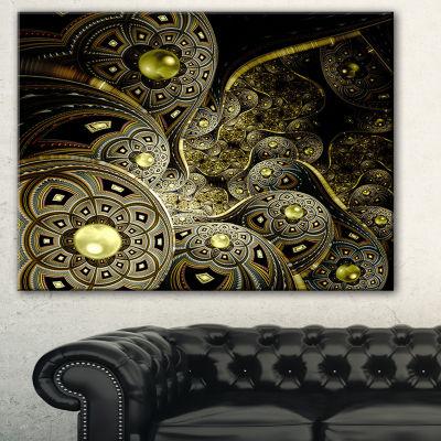 Designart Symmetrical Gold Fractal Flower FloralArt Canvas Print - 3 Panels