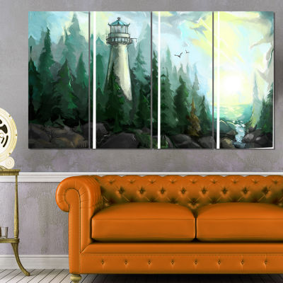 Designart Landscape With River and Trees Modern Painting Canvas Print - 4 Panels