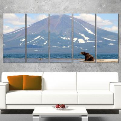 Designart Large Bear in Front of Volcano LandscapeCanvas Wall Art - 4 Panels