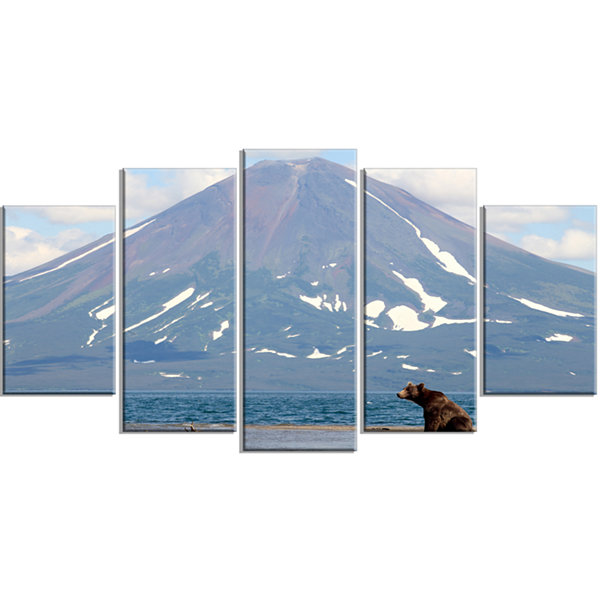 Designart Large Bear in Front of Volcano LandscapeWrapped Canvas Wall Art - 5 Panels