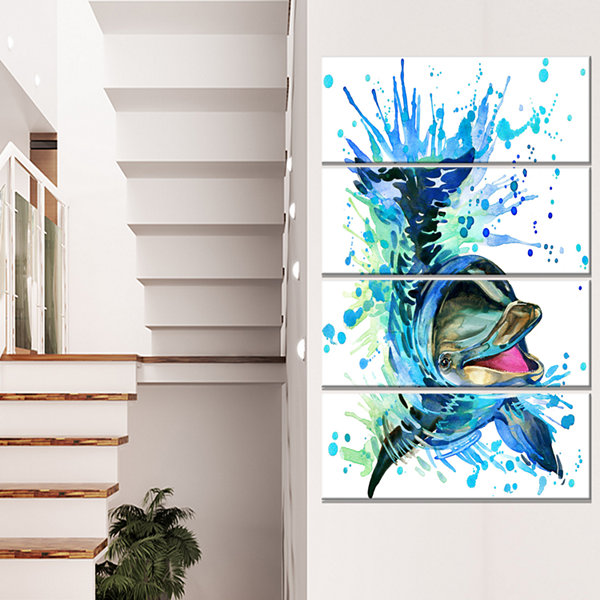Designart Large Blue Dolphin Watercolor Contemporary AnimalArt Canvas - 4 Panels