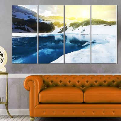 Designart Large Blue High Mountains Lake LandscapeCanvas Art Print - 4 Panels