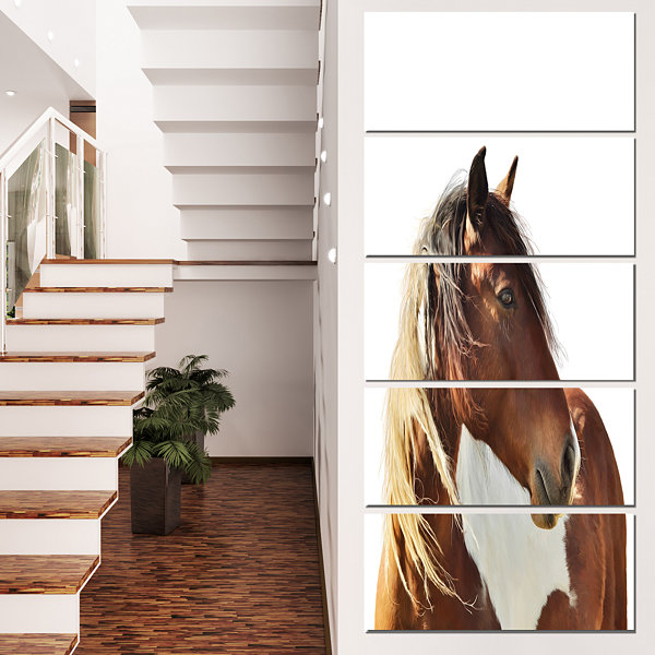 Designart Large Brown Horse Illustration Animal Canvas Art Print - 4 Panels