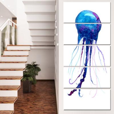 Designart Large Dark Blue Jellyfish Animal CanvasArt Print- 4 Panels