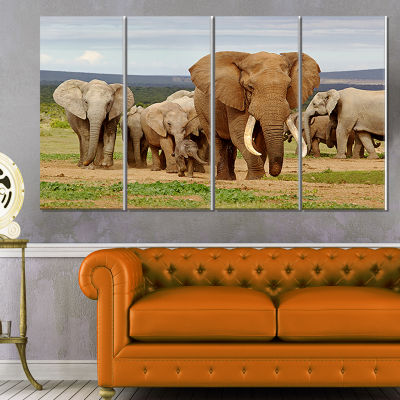 Designart Large Elephant Herd in Africa African Canvas Art Print - 4 Panels