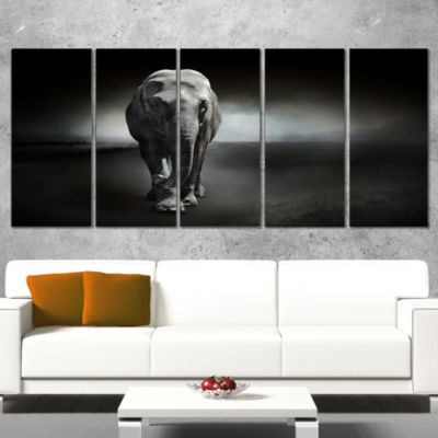 Designart Large Elephant on Black Animal Canvas Wall Art - 4Panels