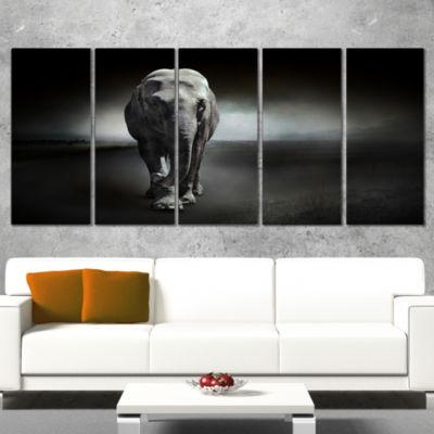 Designart Large Elephant on Black Animal Wrapped Canvas WallArt - 5 Panels