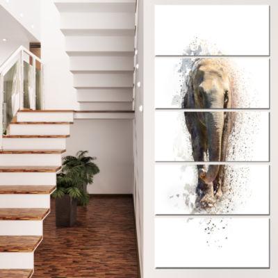 Designart Large Elephant Portrait Animal Canvas Wall Art - 5Panels