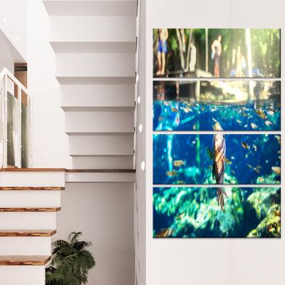 Designart Large Fish in Ik Kil Cenote Mexico Landscape WallArt on Canvas - 4 Panels