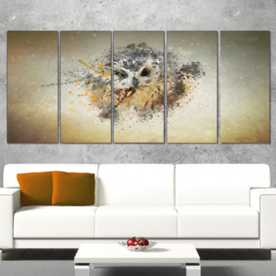 Designart Large Gracing Owl Animal Wrapped CanvasWall Art -5 Panels