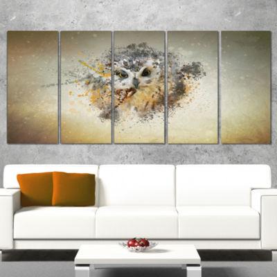 Large Gracing Owl Animal Canvas Wall Art - 5 Panels