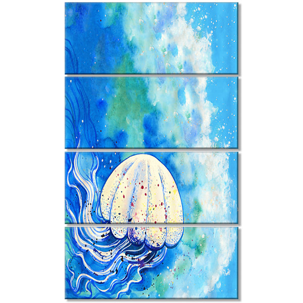 Designart Large Jellyfish Watercolor Abstract Canvas Art Print - 4 Panels