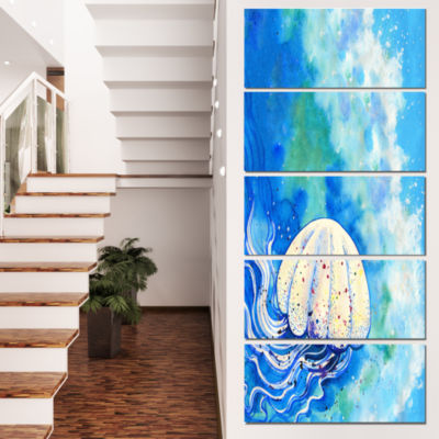 Designart Large Jellyfish Watercolor Abstract Canvas Art Print - 5 Panels