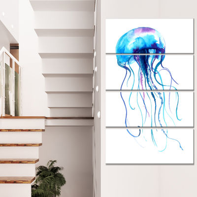 Large Light Blue Jellyfish Animal Canvas Art Print- 4 Panels